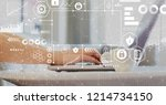cyber security themes with... | Shutterstock . vector #1214734150