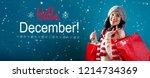 hello december message with... | Shutterstock . vector #1214734369