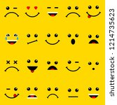 yellow cartoon bubble emoticons ... | Shutterstock .eps vector #1214735623
