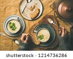 autumn or winter home dinner.... | Shutterstock . vector #1214736286