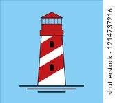 marine navigation beacon.... | Shutterstock .eps vector #1214737216