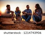 camp on the beach.group of... | Shutterstock . vector #1214743906