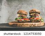 beef meat cheeseburgers with... | Shutterstock . vector #1214753050
