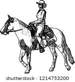 cowgirl riding horse sketch...   Shutterstock .eps vector #1214753200