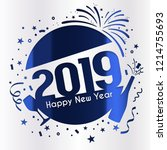 2019 happy new year greeting... | Shutterstock .eps vector #1214755693