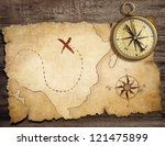 aged brass antique nautical... | Shutterstock . vector #121475899