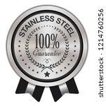 stainless steel badge   Shutterstock .eps vector #1214760256