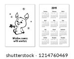 "pocket calendar 2019 with pig. ""... | Shutterstock .eps vector #1214760469"