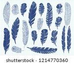ballpoint pen drawing bird... | Shutterstock . vector #1214770360