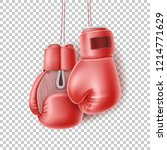 boxing glove hanging on lace.... | Shutterstock .eps vector #1214771629