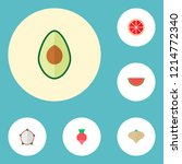 set of fruit icons flat style... | Shutterstock .eps vector #1214772340