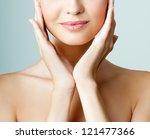beautiful girl face. perfect... | Shutterstock . vector #121477366