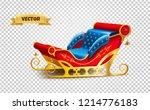 realistic santa claus sleigh.... | Shutterstock .eps vector #1214776183