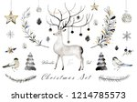 watercolor and ink christmas... | Shutterstock . vector #1214785573