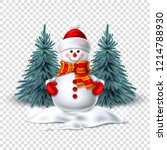 vector realistic snowman... | Shutterstock .eps vector #1214788930