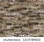 leopard rounds silk scarf... | Shutterstock . vector #1214789833