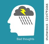 bad thoughts  thinking disorder ...   Shutterstock .eps vector #1214791666