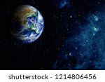 view of the earth from the moon.... | Shutterstock . vector #1214806456