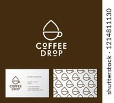 coffee drop logo. coffee emblem.... | Shutterstock .eps vector #1214811130