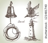 sea set of nautical design... | Shutterstock .eps vector #121481740