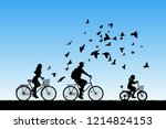 Family On Bikes In Park. Active ...