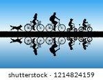 Family On Bikes In Park. Activ...