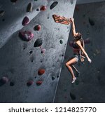 professional female climber... | Shutterstock . vector #1214825770
