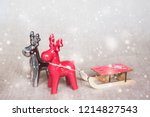 two christmas deers with... | Shutterstock . vector #1214827543