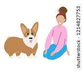 happy girl with dog  isolated... | Shutterstock .eps vector #1214827753