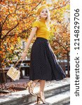 outdoor full body fashion... | Shutterstock . vector #1214829706