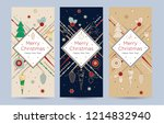 a set of christmas greeting... | Shutterstock .eps vector #1214832940