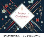 christmas greeting card. golden ... | Shutterstock .eps vector #1214832943