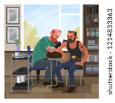 tattoo salon with two men... | Shutterstock .eps vector #1214833363