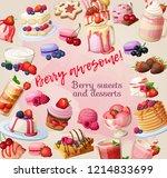 colorful cartoon berry dessert... | Shutterstock .eps vector #1214833699