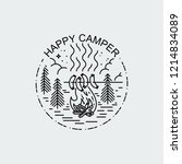 happy camper. night camp with... | Shutterstock .eps vector #1214834089