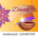 happy diwali festival of lights ... | Shutterstock .eps vector #1214837239