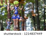 young child girl in safety... | Shutterstock . vector #1214837449