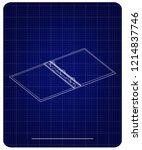 3d model of notebook on a blue... | Shutterstock .eps vector #1214837746