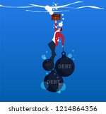 businessman hands and feet tied ... | Shutterstock .eps vector #1214864356
