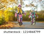 cute little sisters riding... | Shutterstock . vector #1214868799