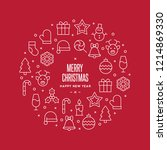 christmas icon background | Shutterstock .eps vector #1214869330