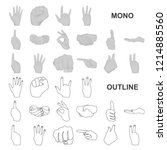 hand gesture monochrom icons in ...   Shutterstock .eps vector #1214885560