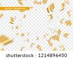 falling shiny golden confetti... | Shutterstock .eps vector #1214896450