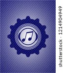 musical note icon inside denim... | Shutterstock .eps vector #1214904949