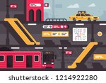 city metro street section with... | Shutterstock .eps vector #1214922280