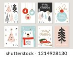 christmas vector set of 8 cards ... | Shutterstock .eps vector #1214928130