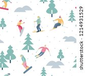 snowboarders and skiers ride in ... | Shutterstock .eps vector #1214931529