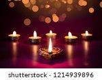 happy diwali   clay diya lamps... | Shutterstock . vector #1214939896