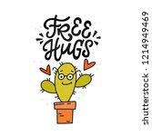 free hugs  cartoon cacti giving ... | Shutterstock .eps vector #1214949469