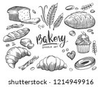 set of drawings bakery theme.... | Shutterstock .eps vector #1214949916